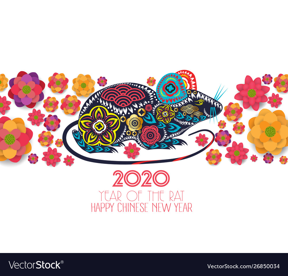 2020 chinese new year greeting card paper cut Vector Image
