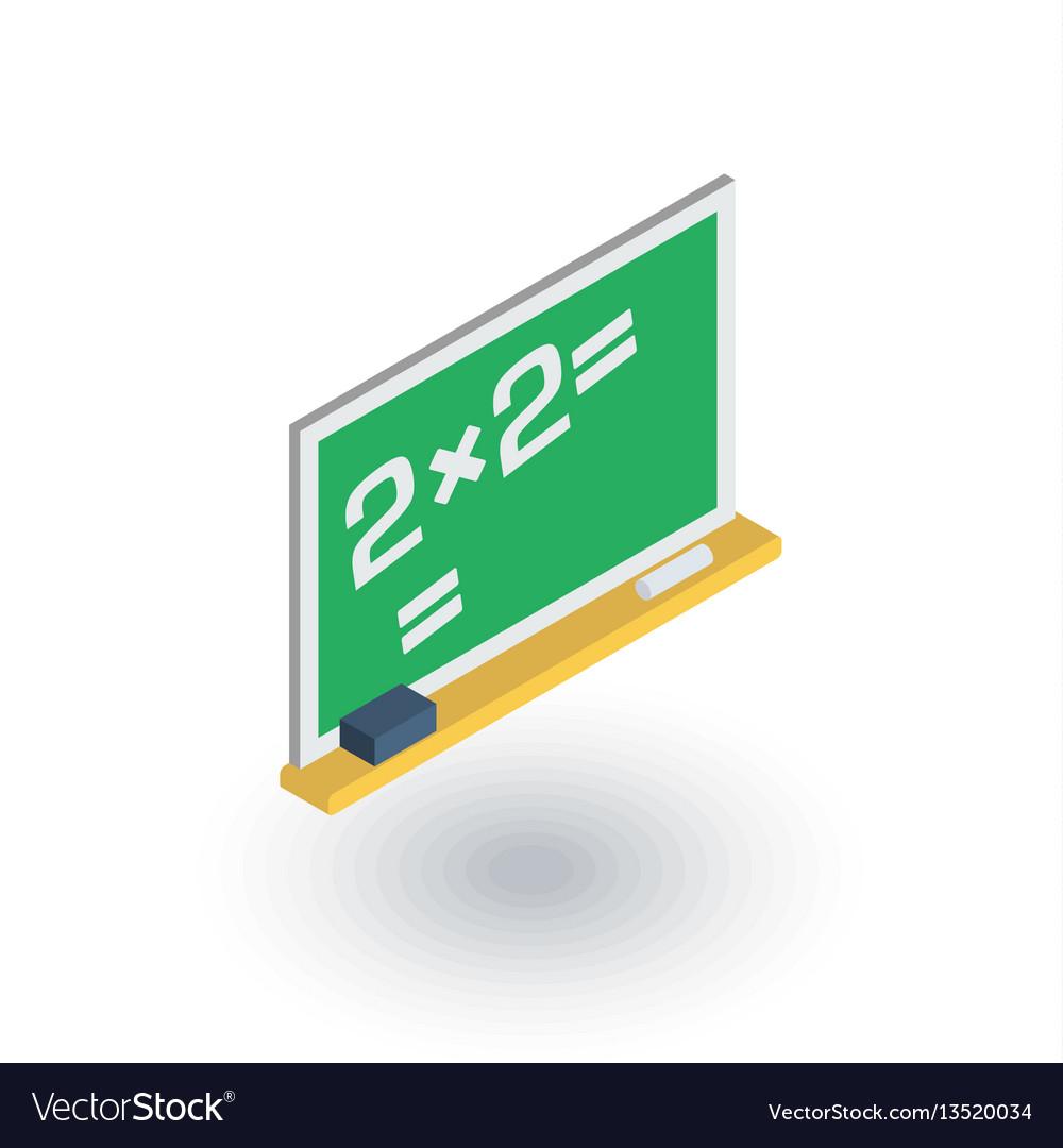 Blackboard chalkboard isometric flat icon 3d