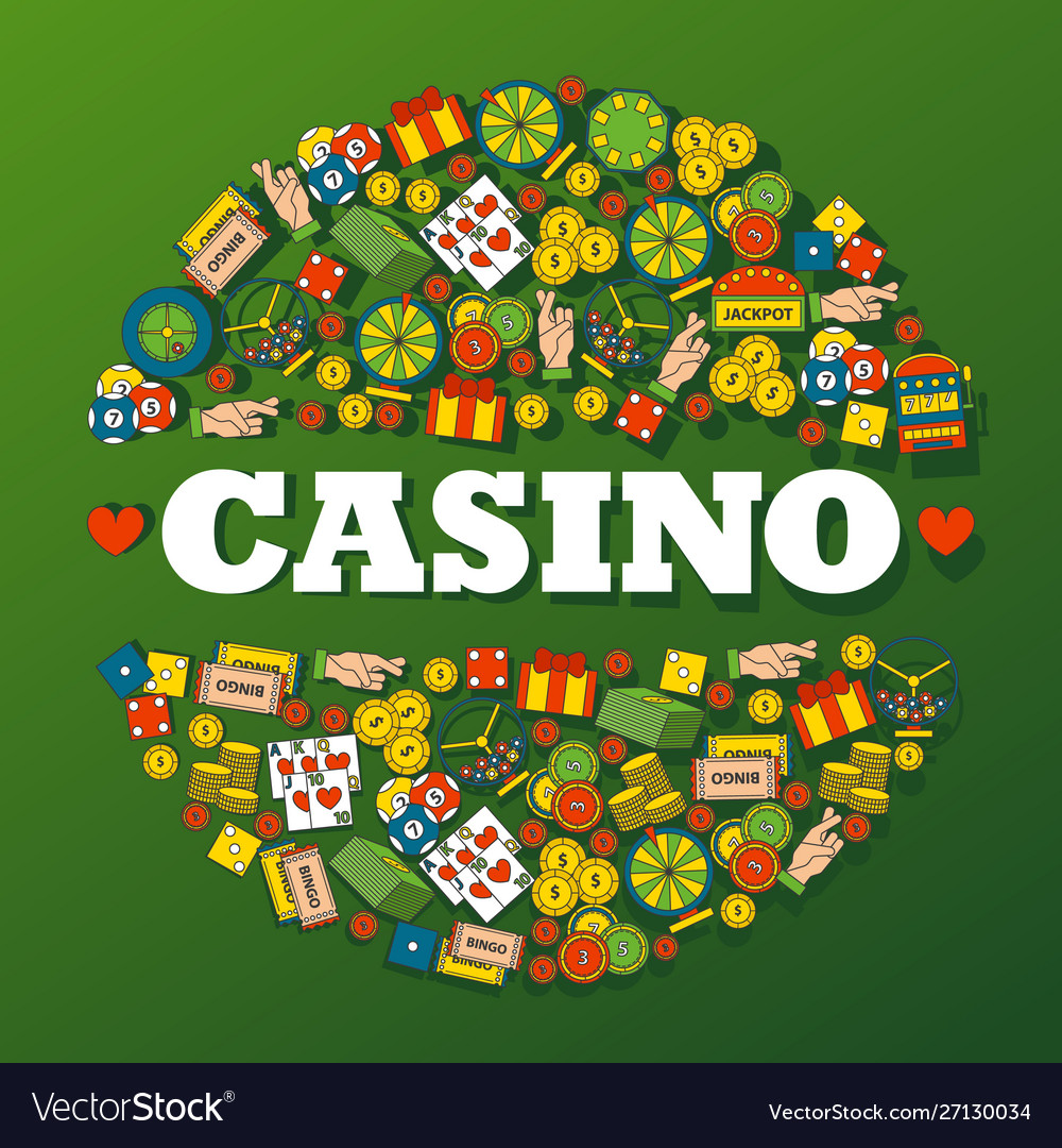 Casino gambling icons in round frame composition