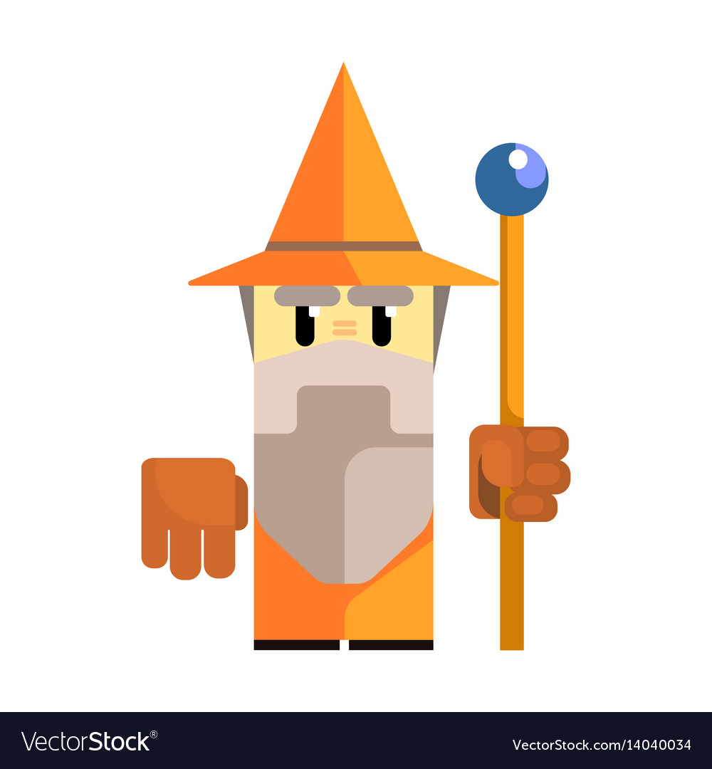 Cute cartoon gnome in an orange hat with a staff