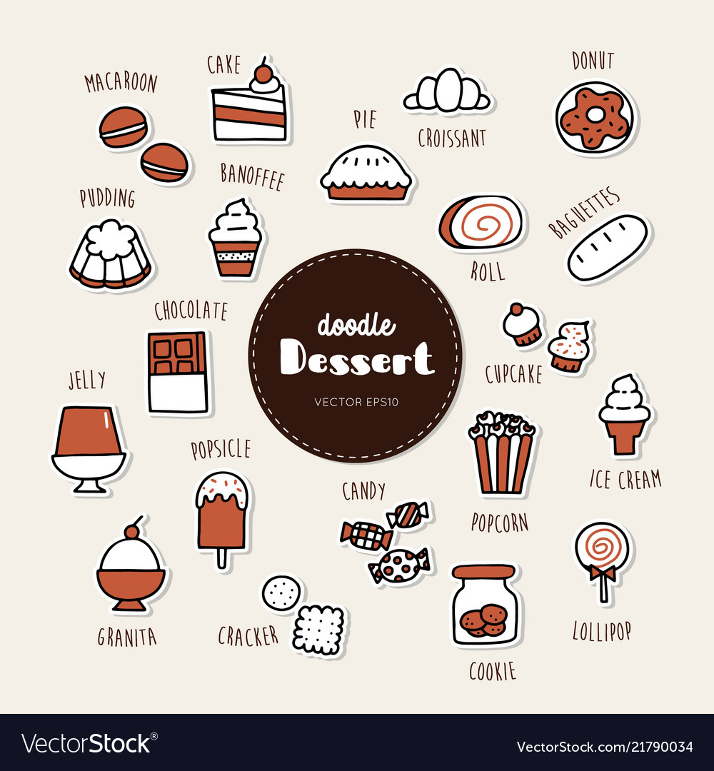 Dessert hand drawn doodle icons set