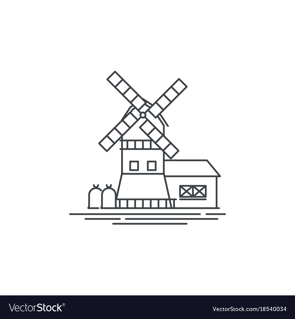 farm windmill drawing. Farm Windmill Line Icon Outline Of Vector Image Drawing