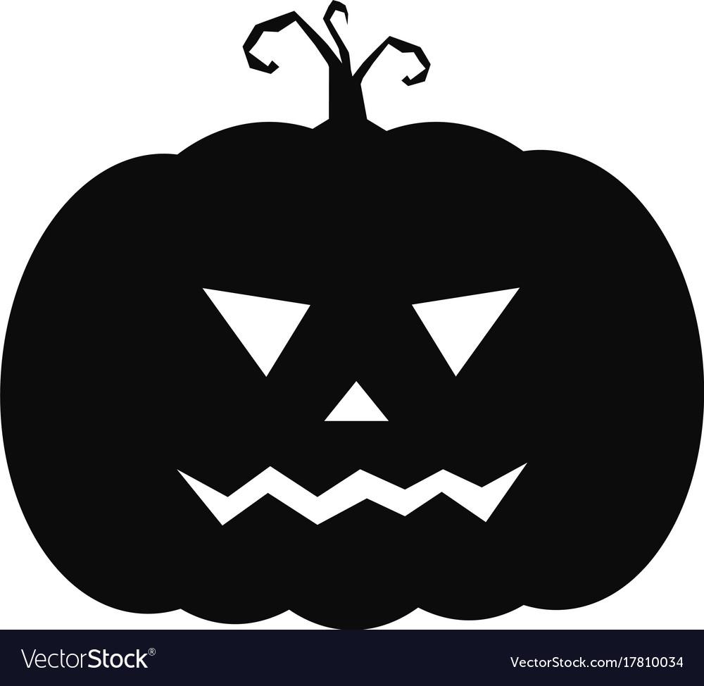 Halloween Pumpkin Vector Art.Halloween Pumpkin Icon Cute Black