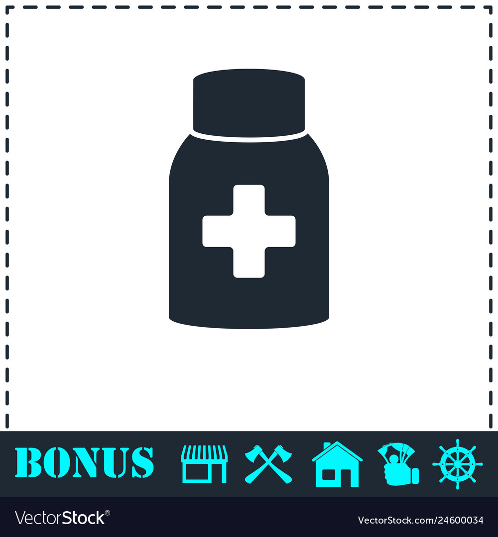 Medicine pill bottle icon flat