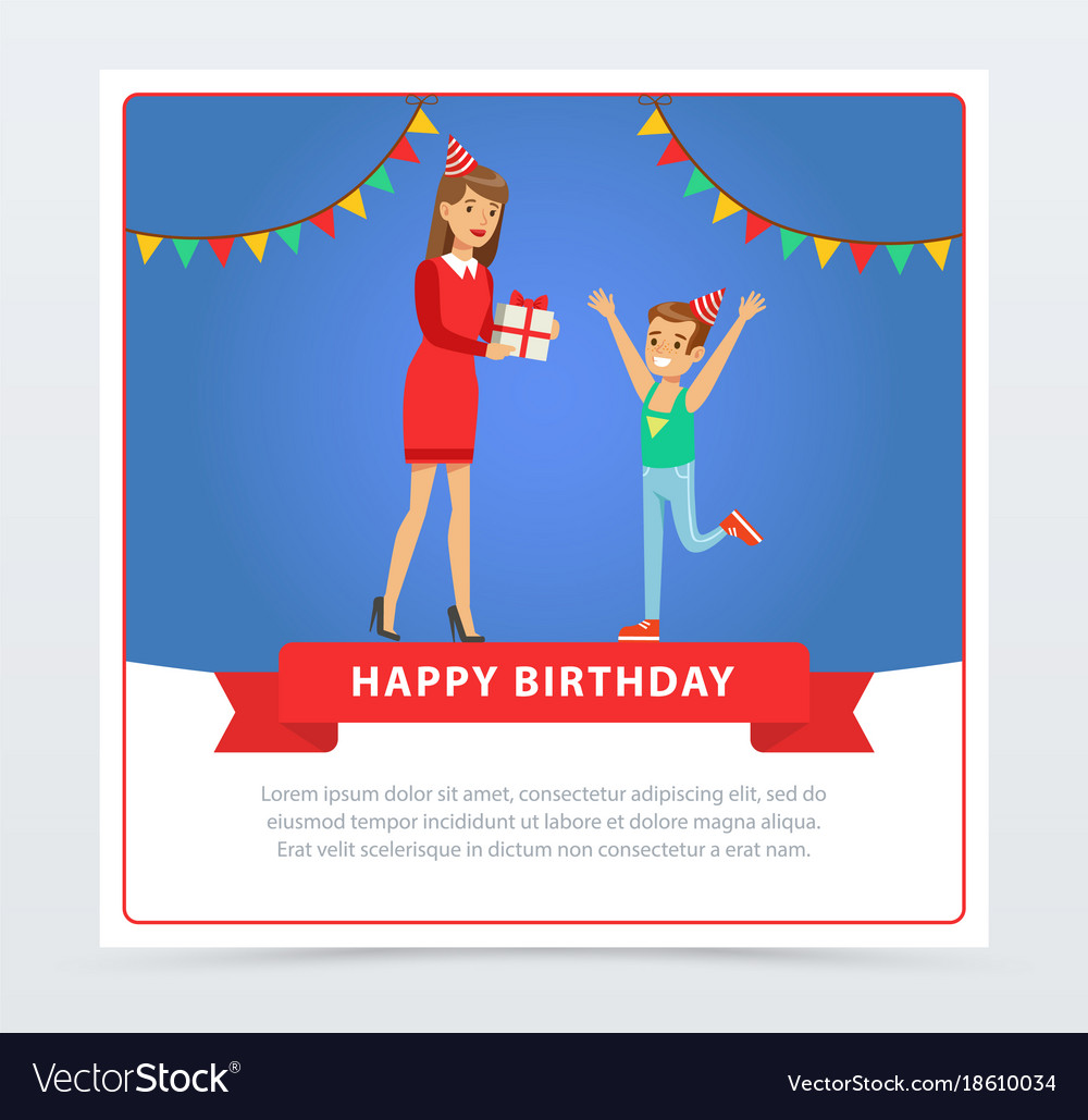 Mother Giving A Gift To Her Son Kids Birthday Vector Image