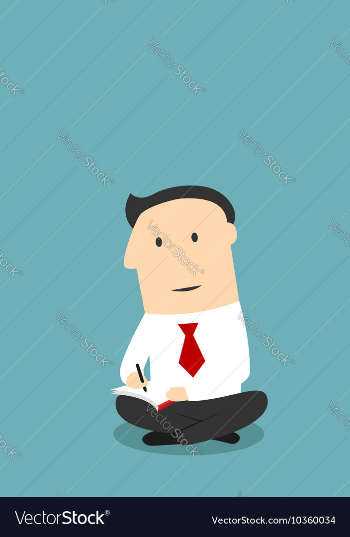 Office worker sitting with notebook and pen vector image
