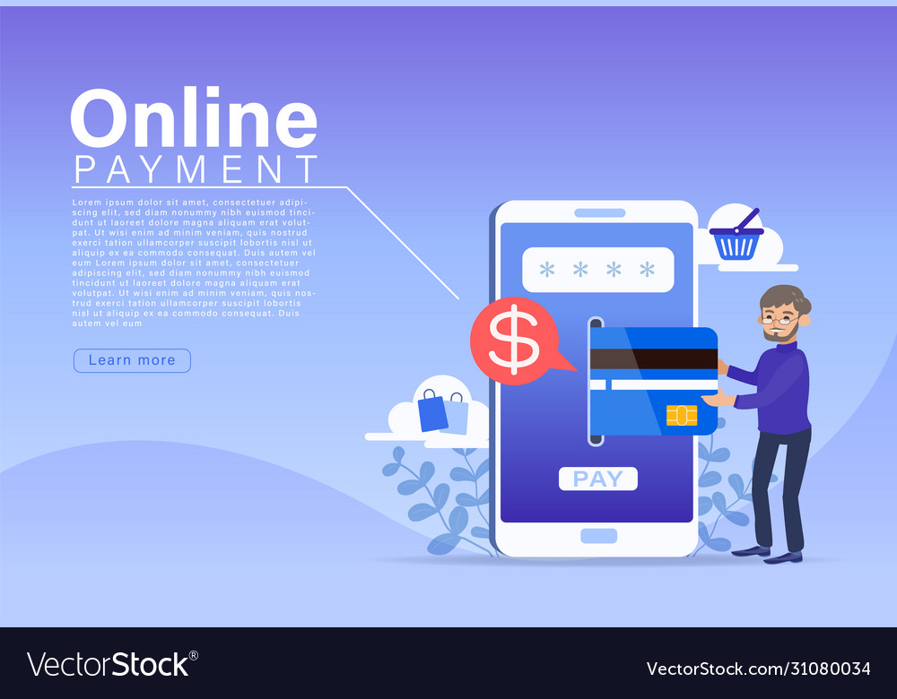 Online payment concept people character making