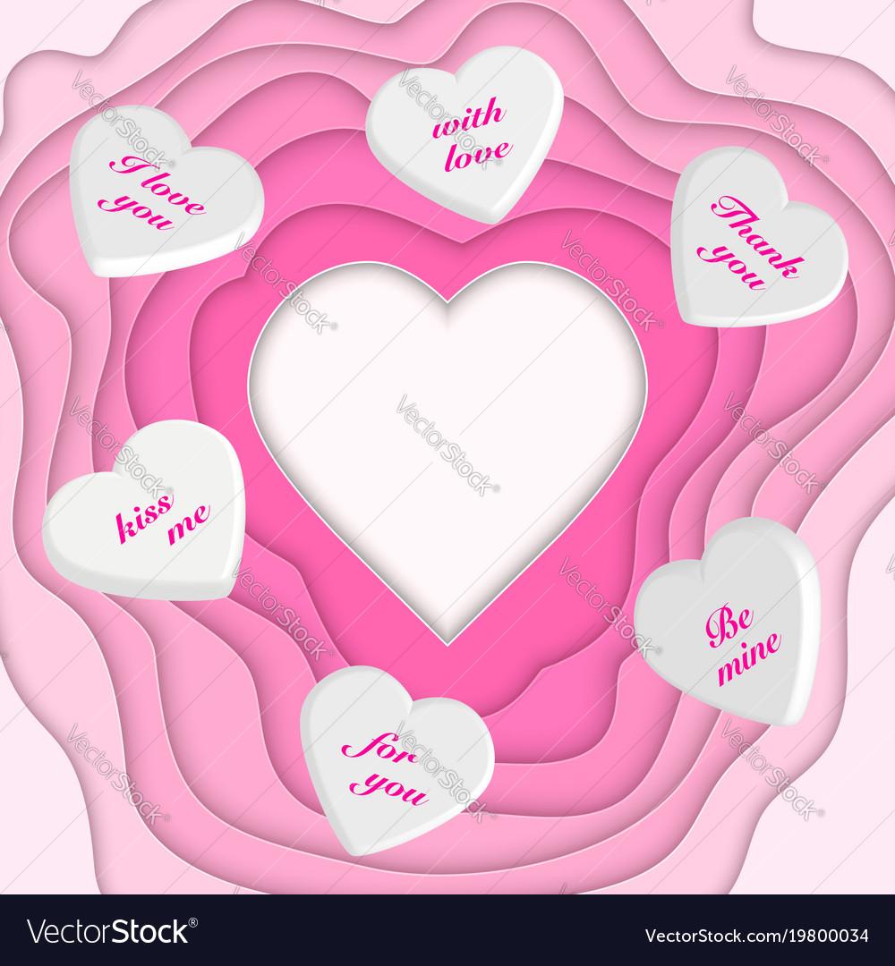 Paper cut heart and 3d hearts