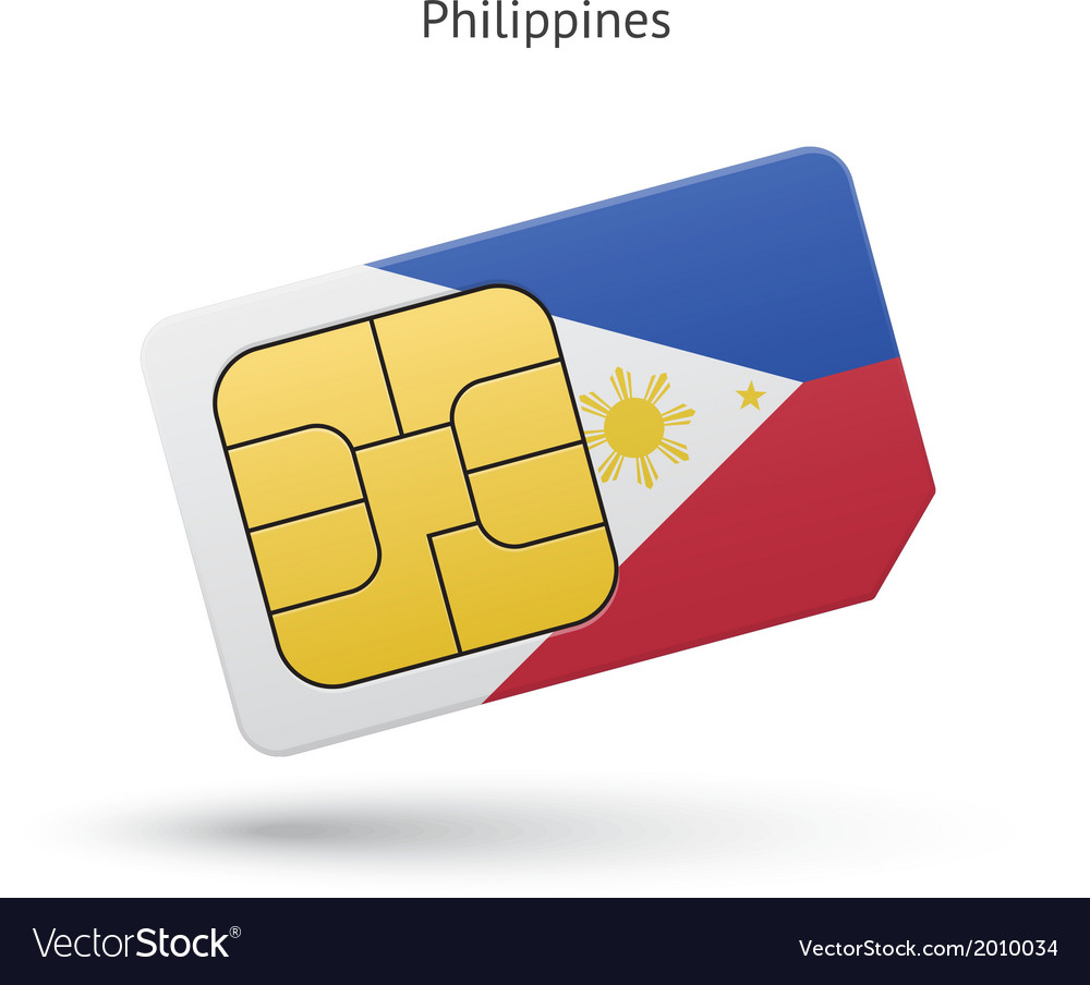 Philippines Mobile Phone Sim Card With Flag Vector Image
