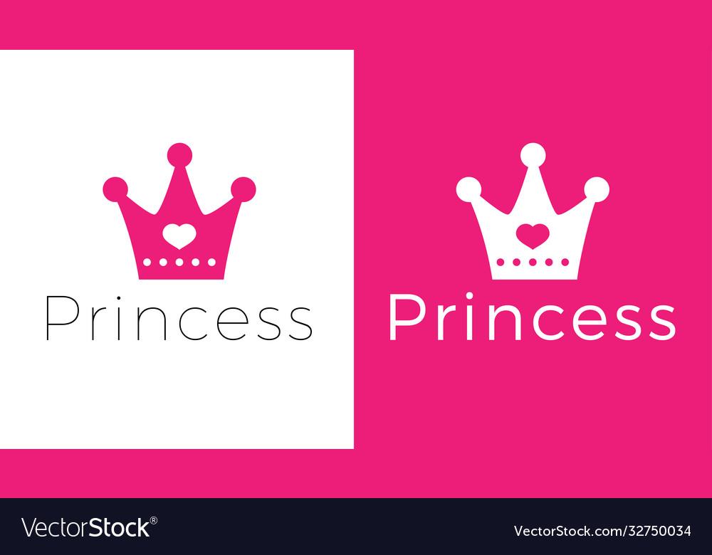 Pink sign crown princess design modern logos
