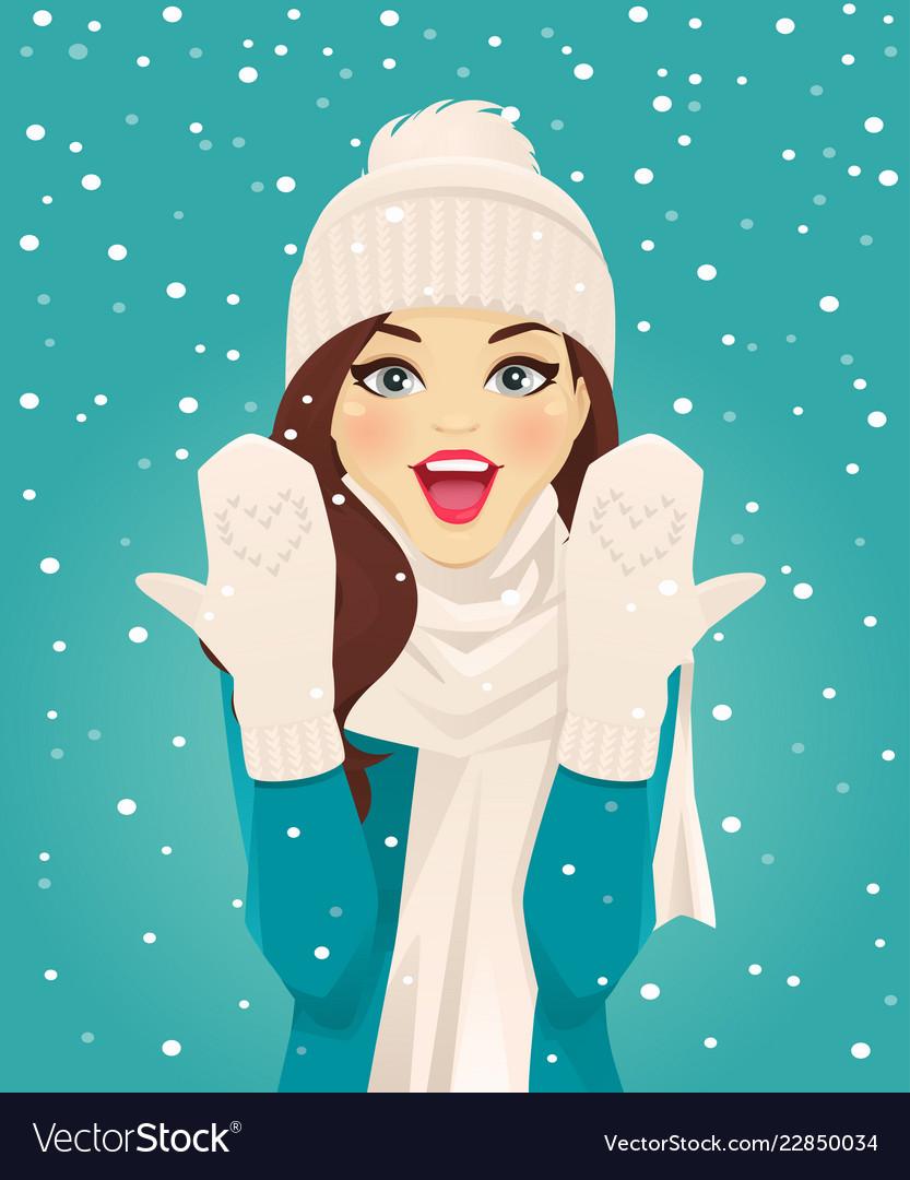 Surprised woman in snowfall