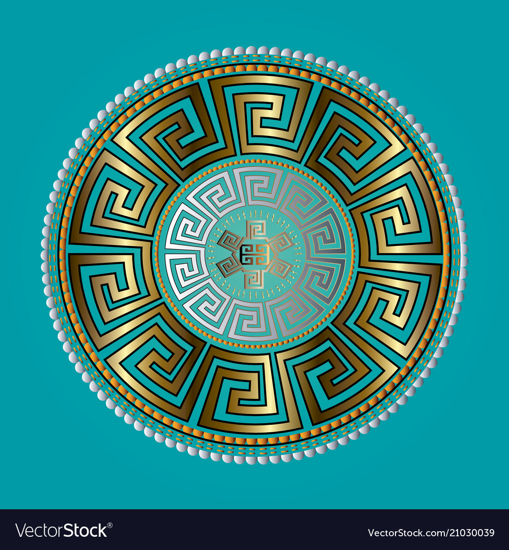 Ancient round ornament gold meander