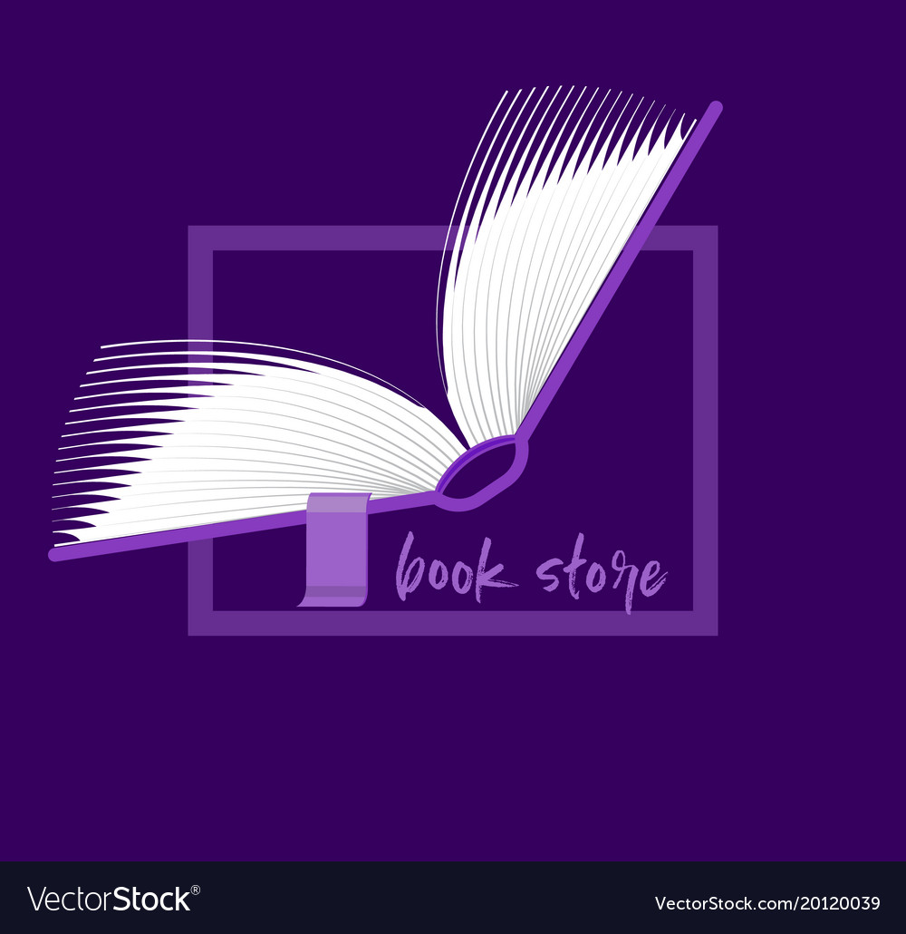 book logo flipping pages of the open book emblem vector image