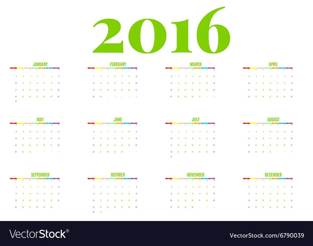 Calendar 2016 new year on white background