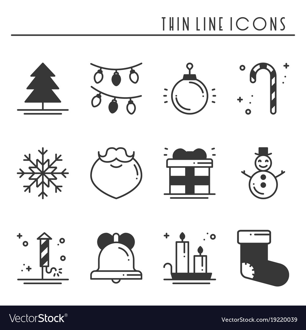 Christmas holiday thin line silhouette icons set