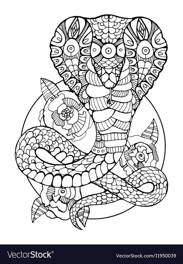 Cobra snake coloring book for adults