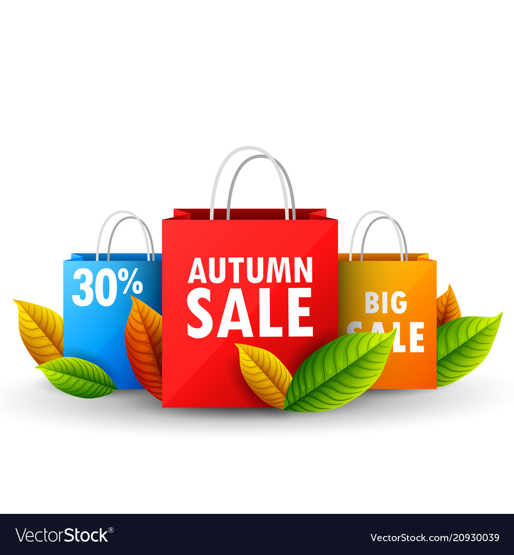 Color shopping paper bags with autumn sale