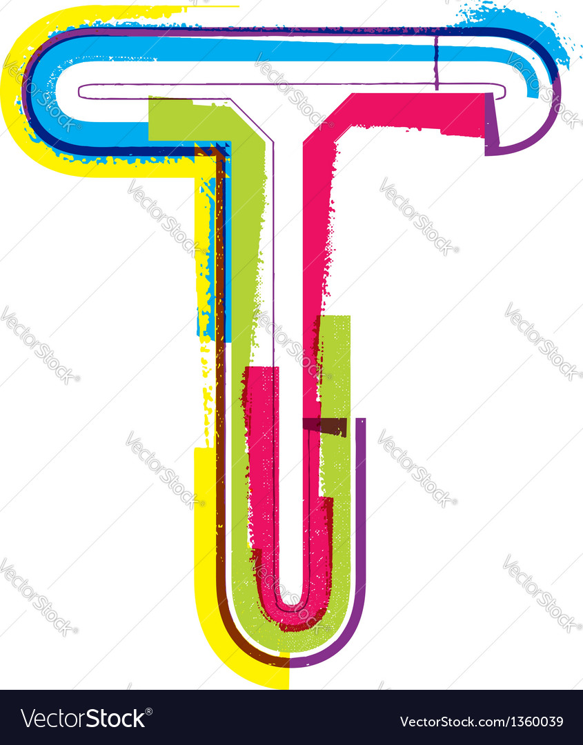 Colorful Grunge font Letter T