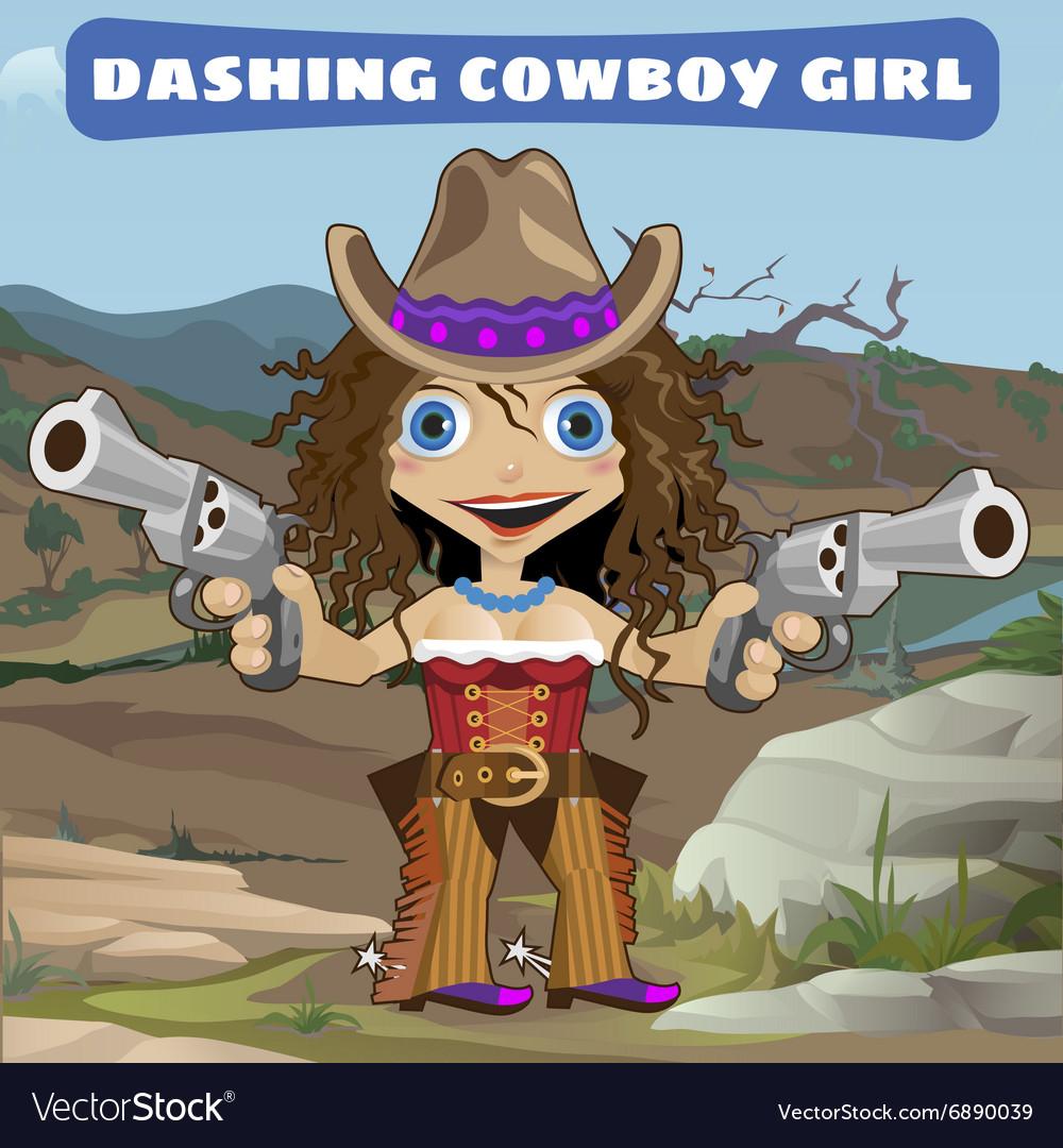 Dashing cowboy girl with guns on a wild landscape