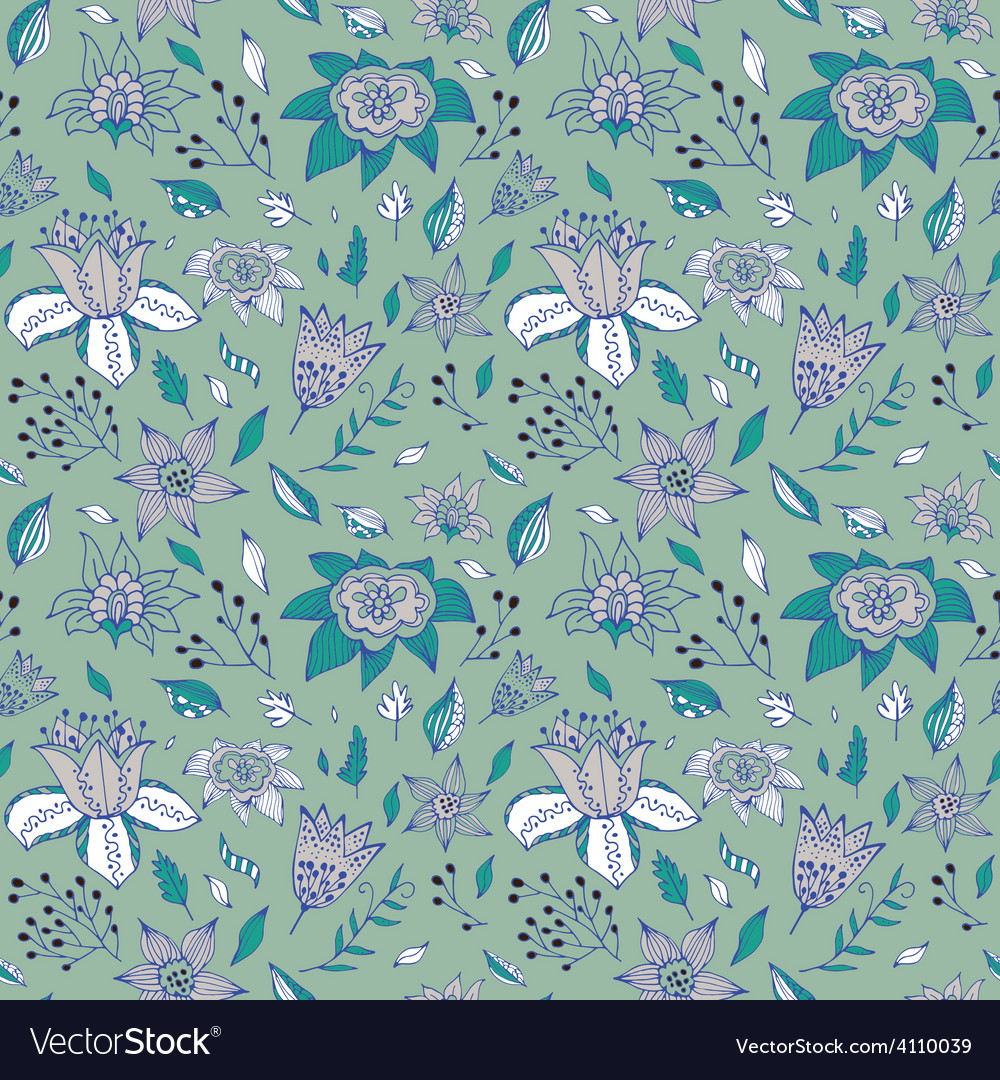 Elegant seamless pattern with abstract flowerson a