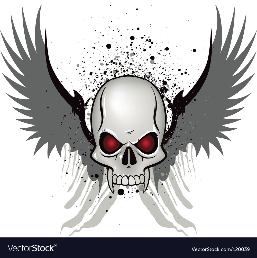 Evil skull emblem vector image