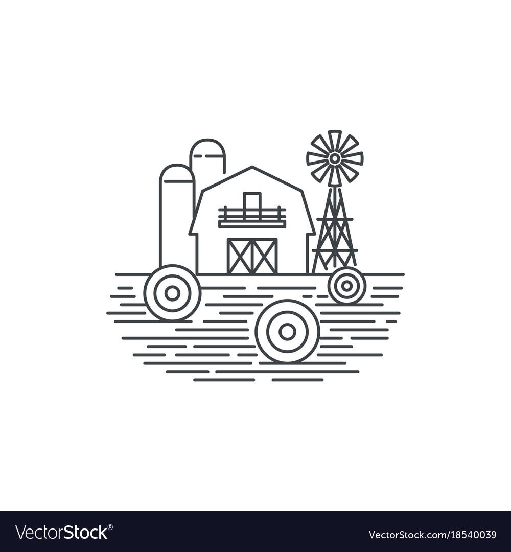 Farm hay line icon outline of hay