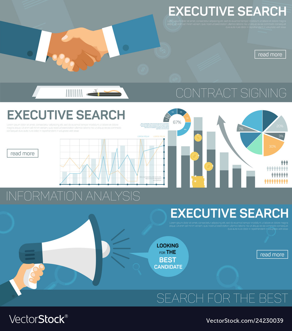 Flat banner set executive search contract signing