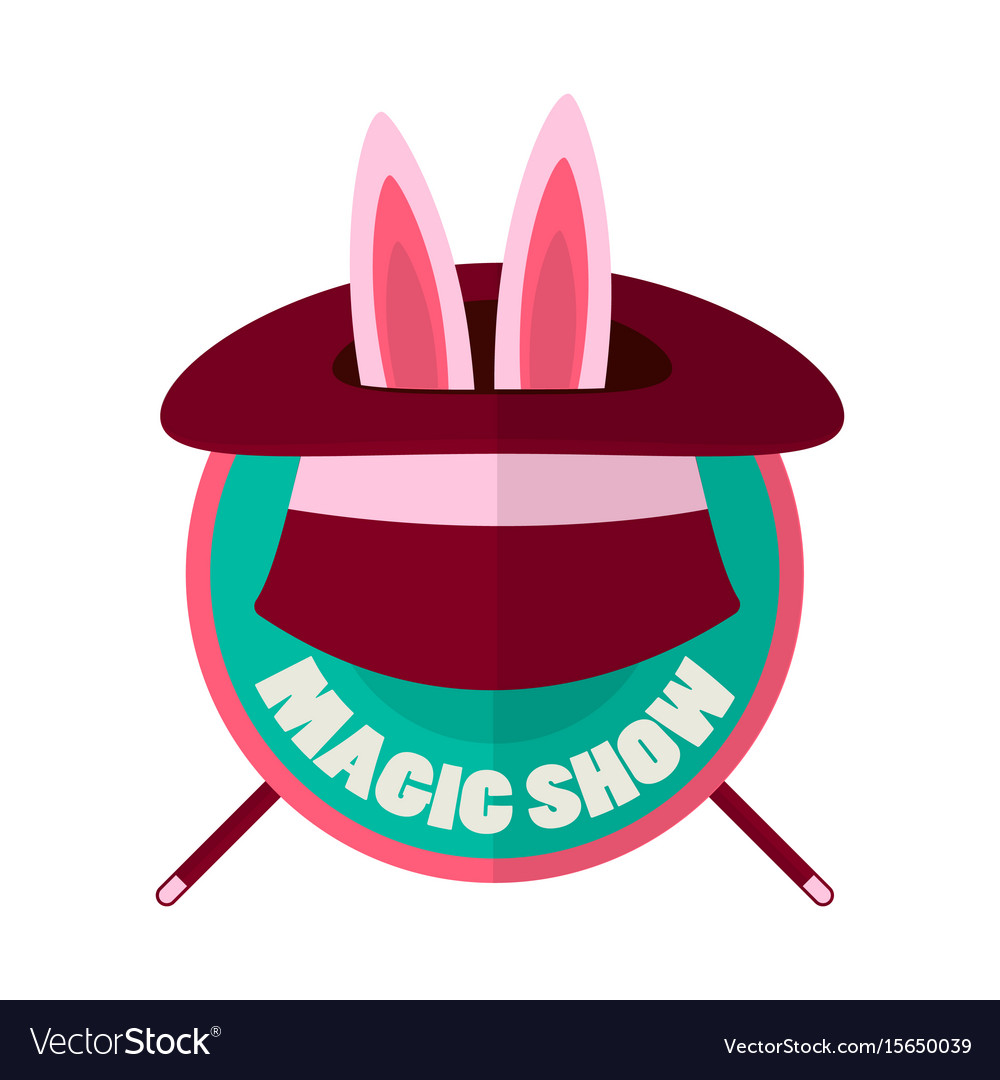 Magic show hat with rabbit ears isolated on white