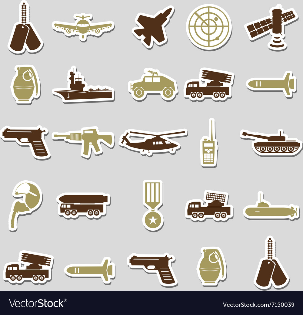 Military theme simple stickers icons set eps10