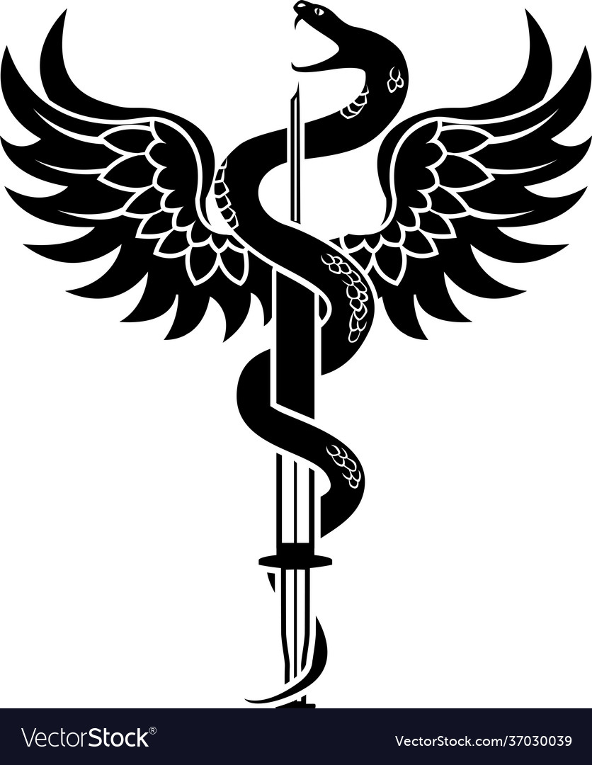 New medical symbol a snake coiled around a syring