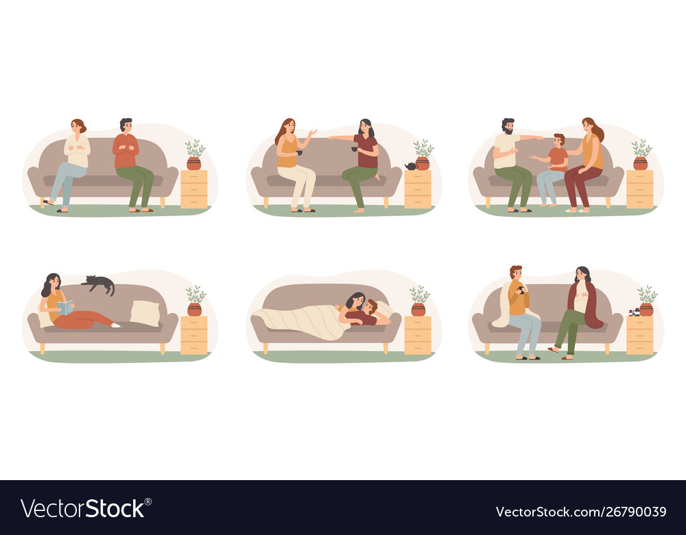 People on sofas happy healthy adults on couch