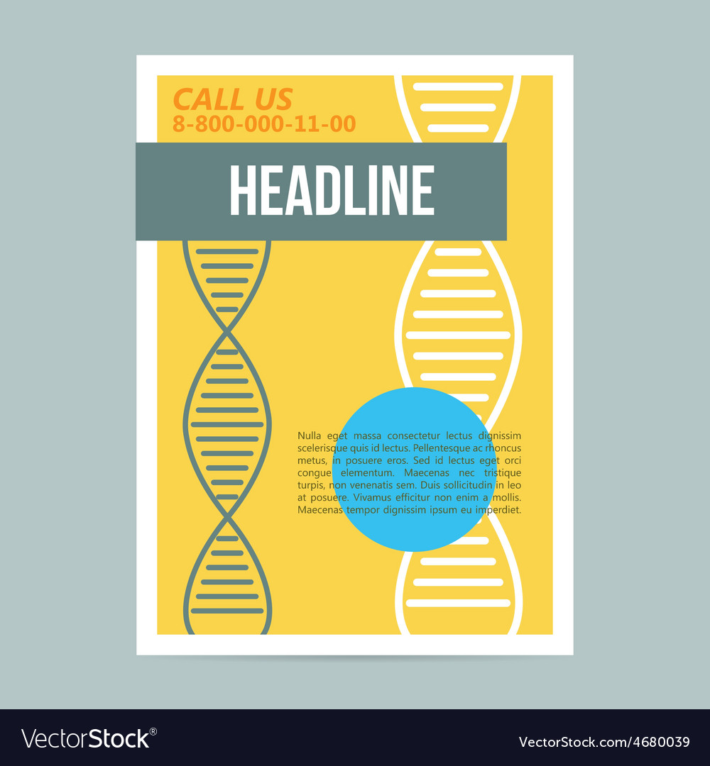 science brochure flyer design template with dna vector image