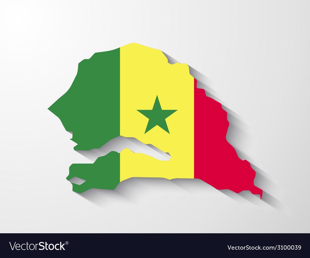 Senegal map with shadow effect presentation