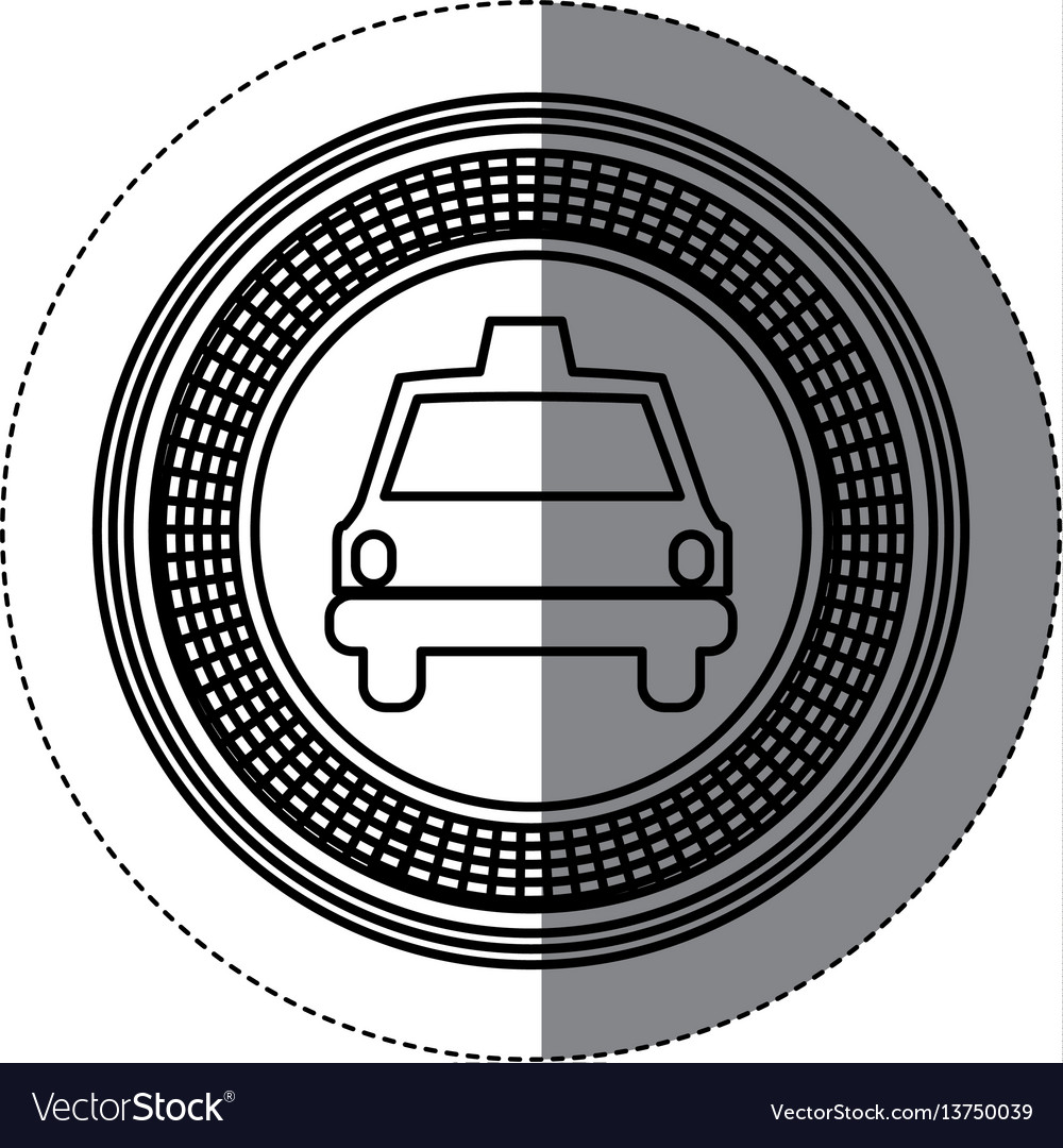 Silhouette emblem taxi front car icon vector image
