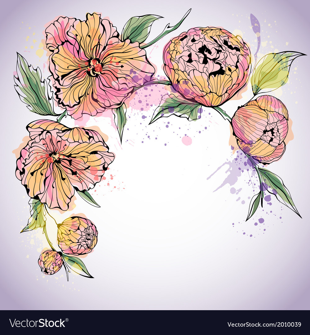 Violet background with watercolor peony flowers