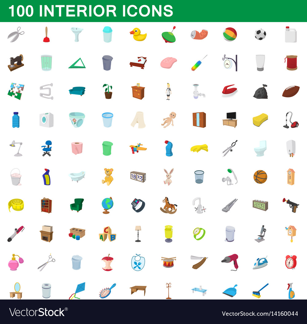 100 interior icons set cartoon style