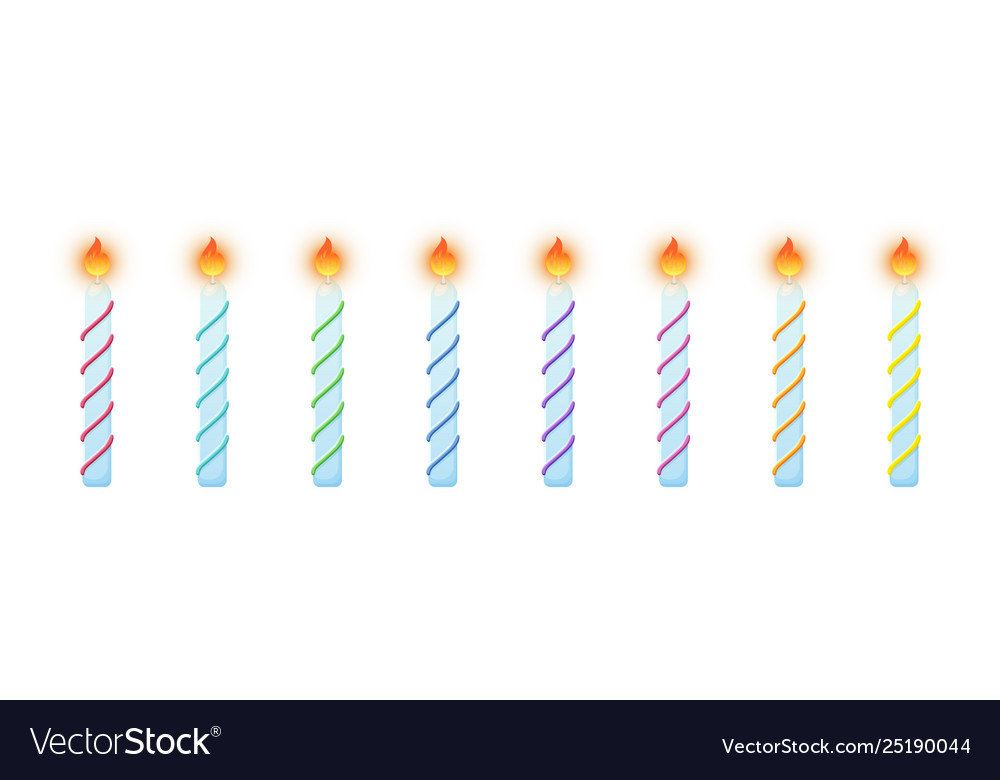 Birthday Cake Candles Burning Colorful Set Vector Image