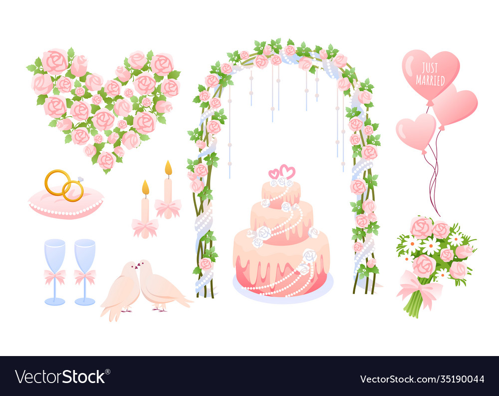 Cartoon pink wedding decoration collection with