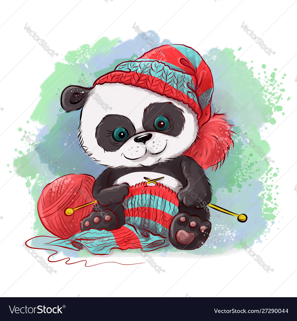 Cartoon watercolor panda knits a scarf logo for