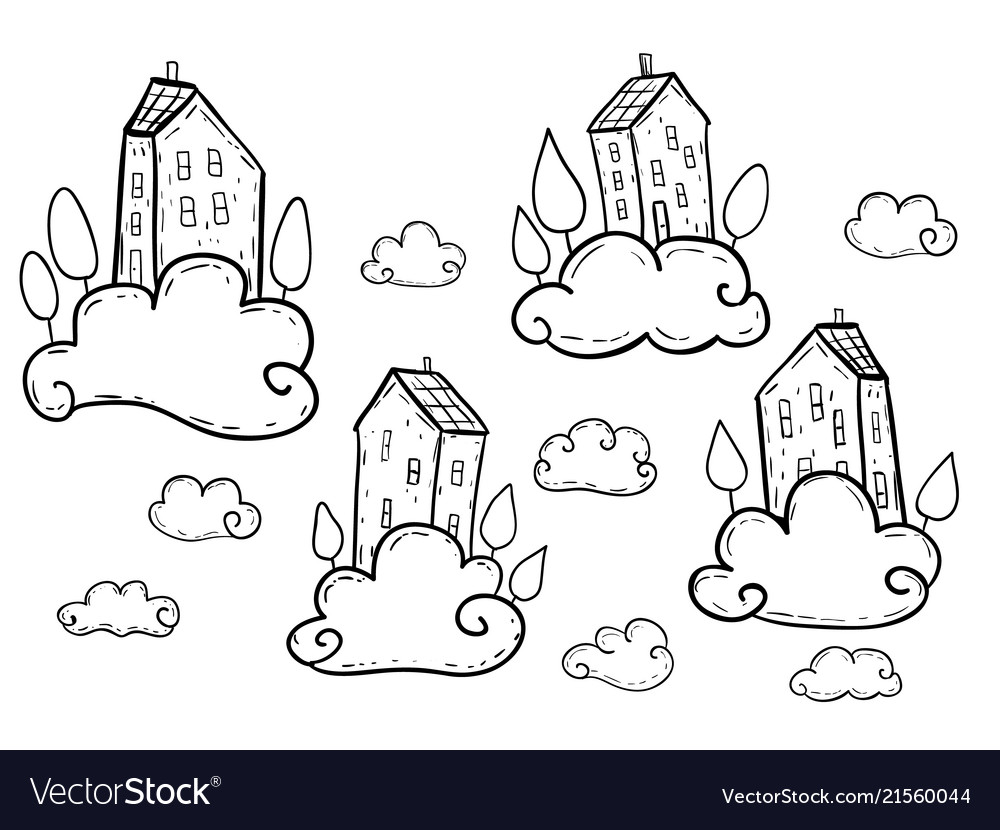 Doodle houses flying on clouds