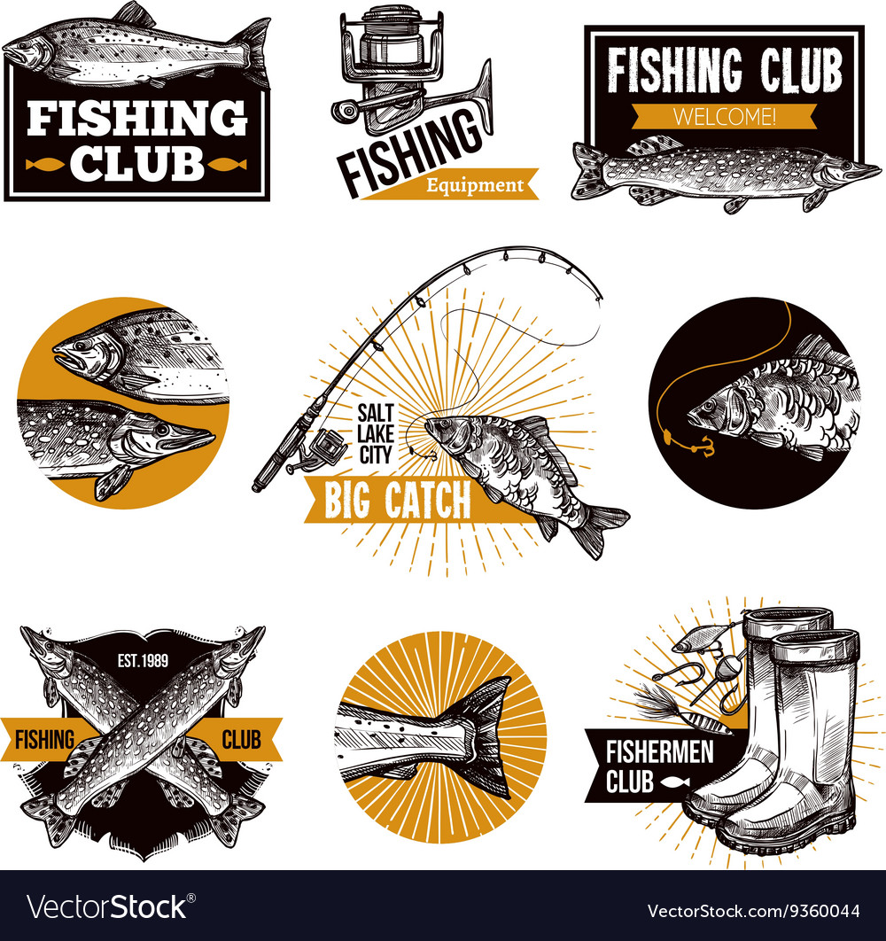 Fishing Logo Emblems vector image
