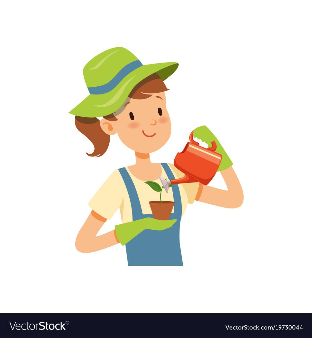 Girl gardener character girl watering a plant