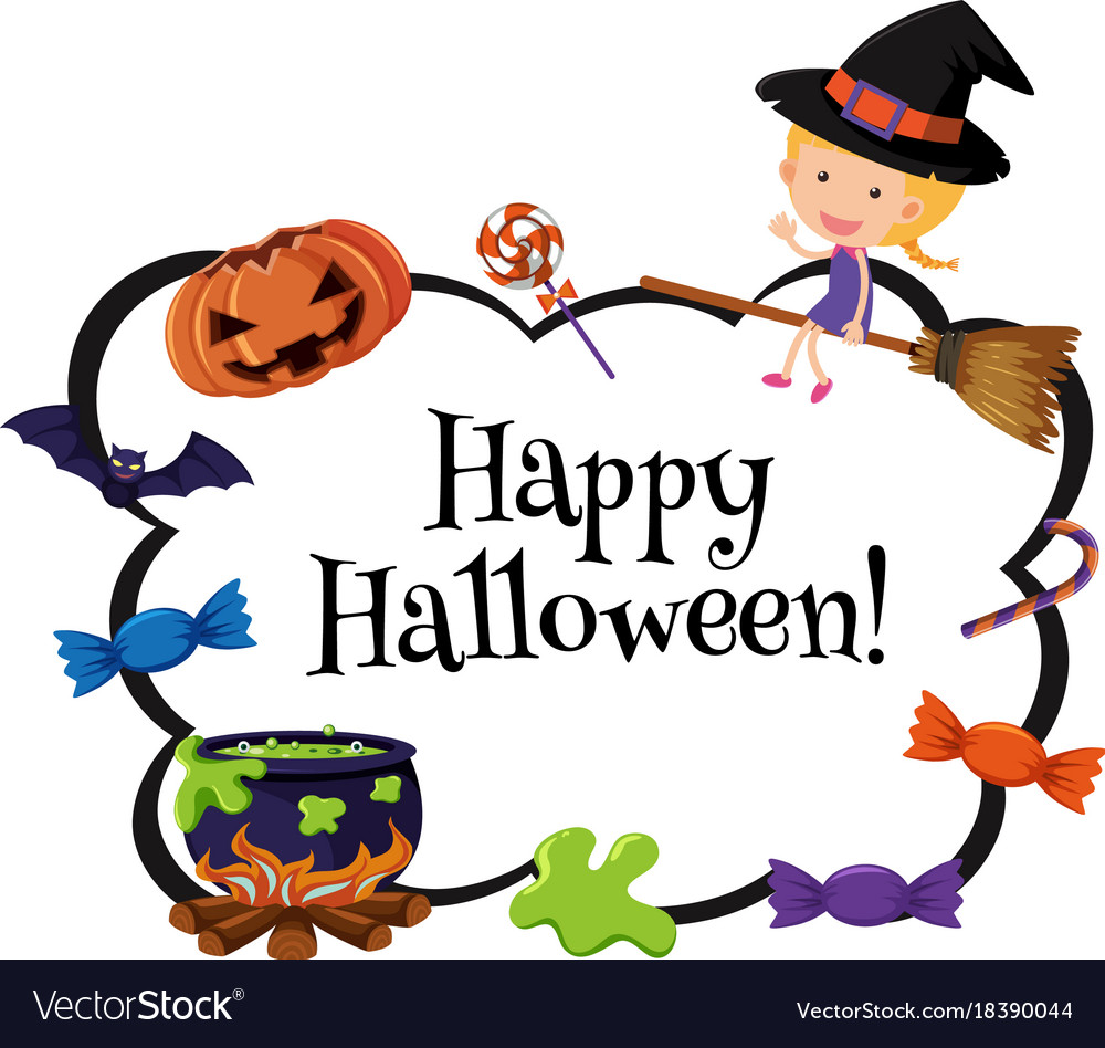 happy halloween card template with witch and candy