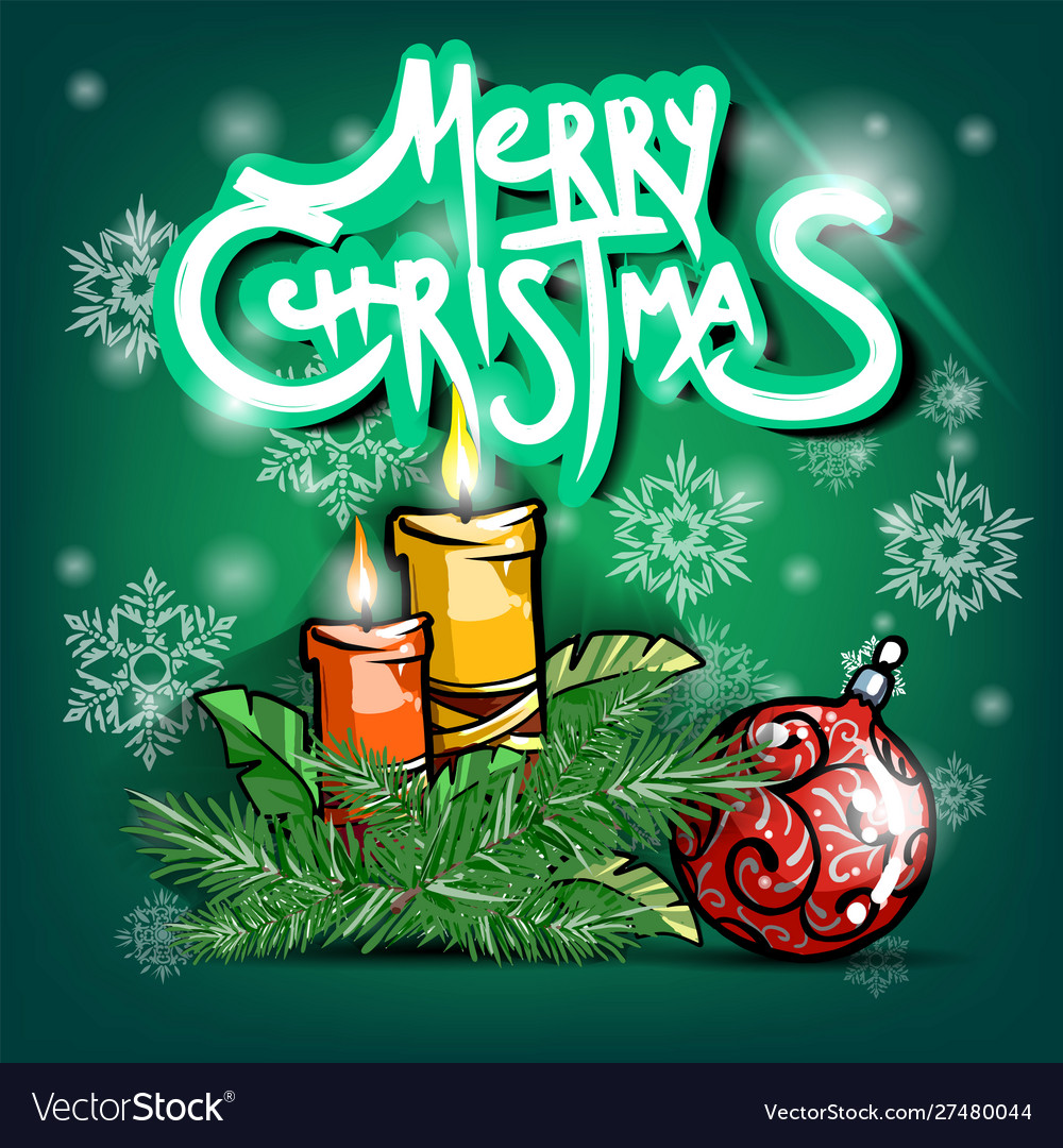 Christmas Brunch 2020 Happy new year 2020 candle and christmas brunch Vector Image