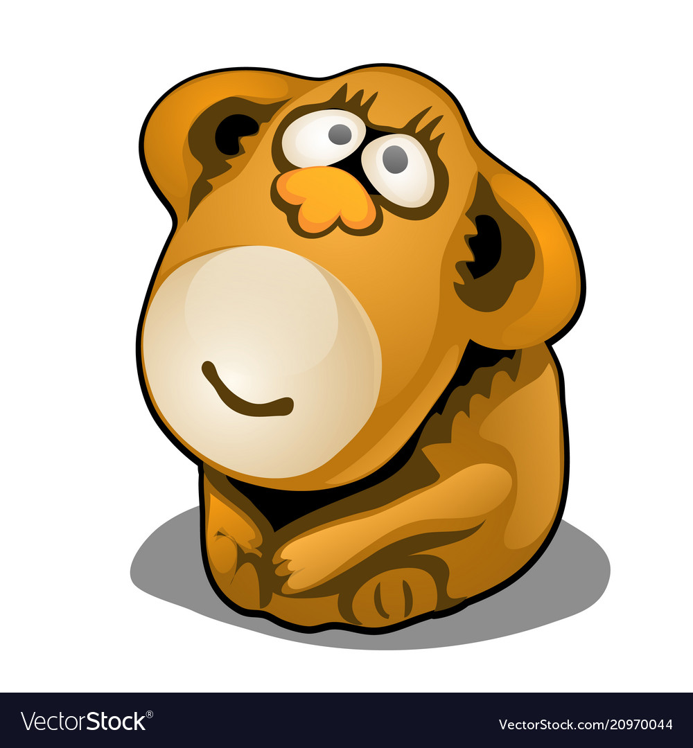 Plush toy in the form of brown monkey isolated on