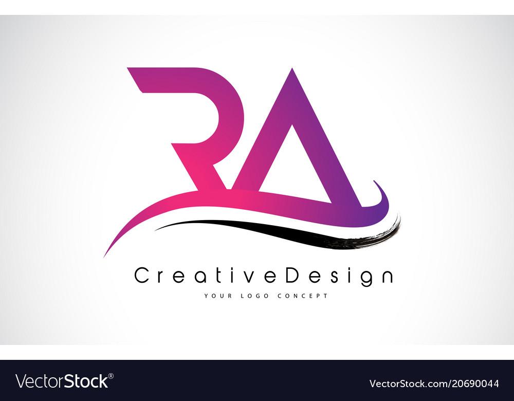 ra r a letter logo design creative icon modern vector image