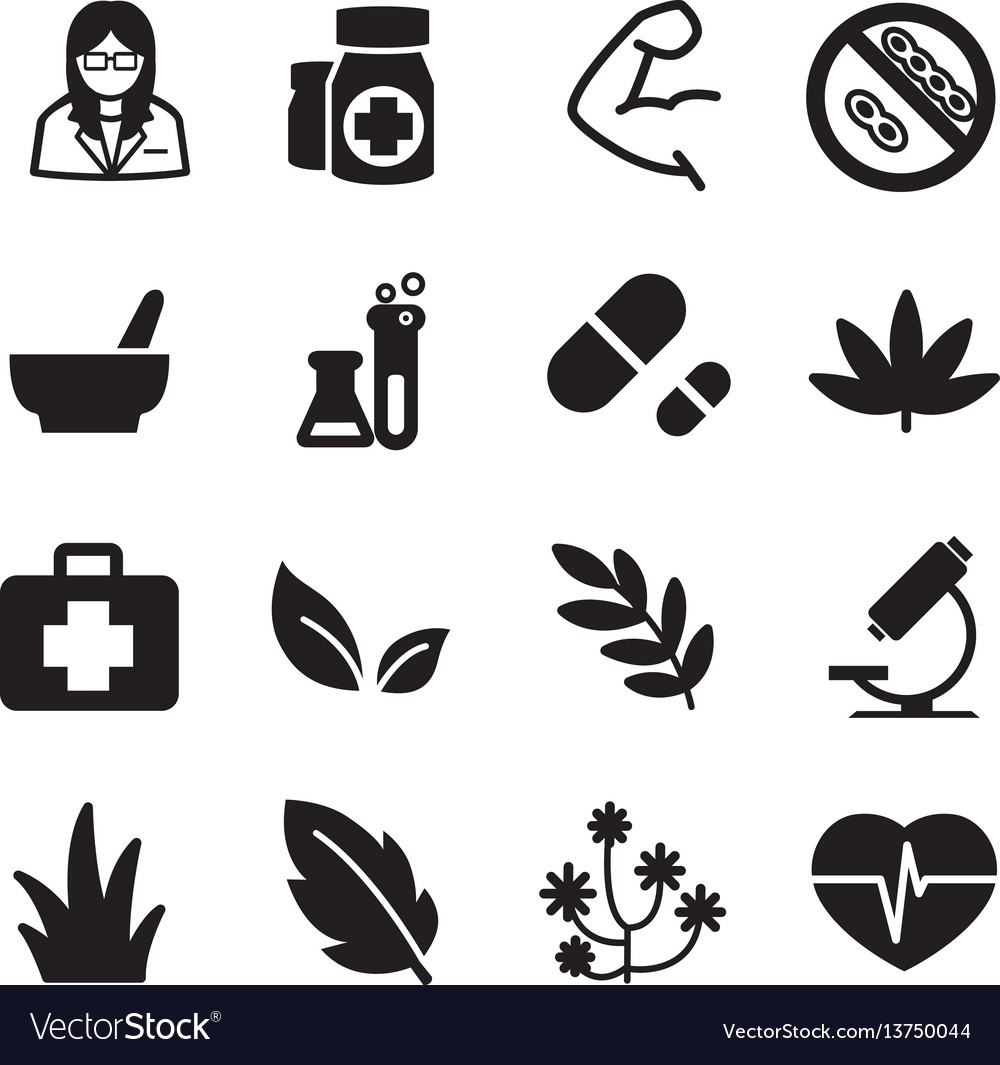 Silhouette herb icons