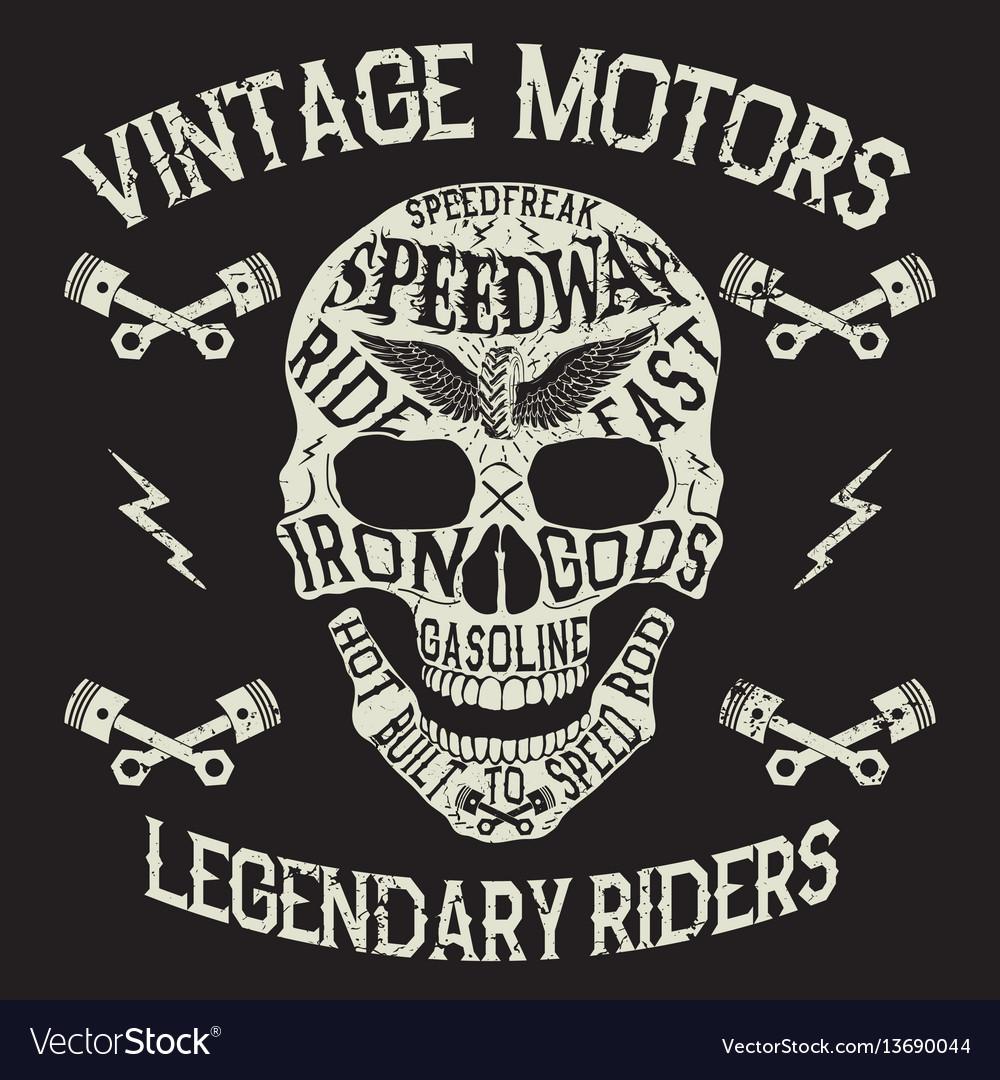 Vintage motors emblem with skull