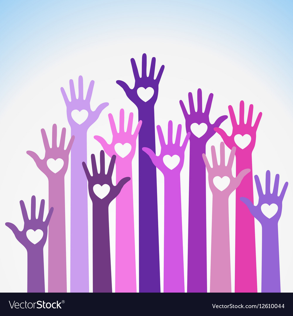 Volunteers colorful caring up hands hearts