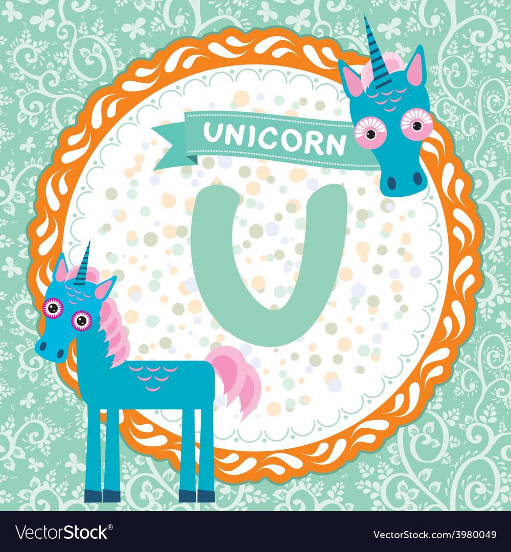 ABC animals U is unicorn Childrens english vector image